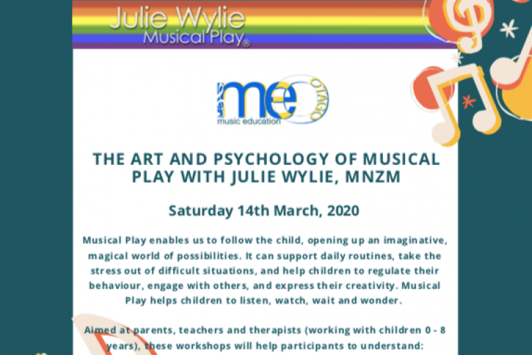 The Art and Psychology of Musical Play – a Music Education Otago workshop with Julie Wylie