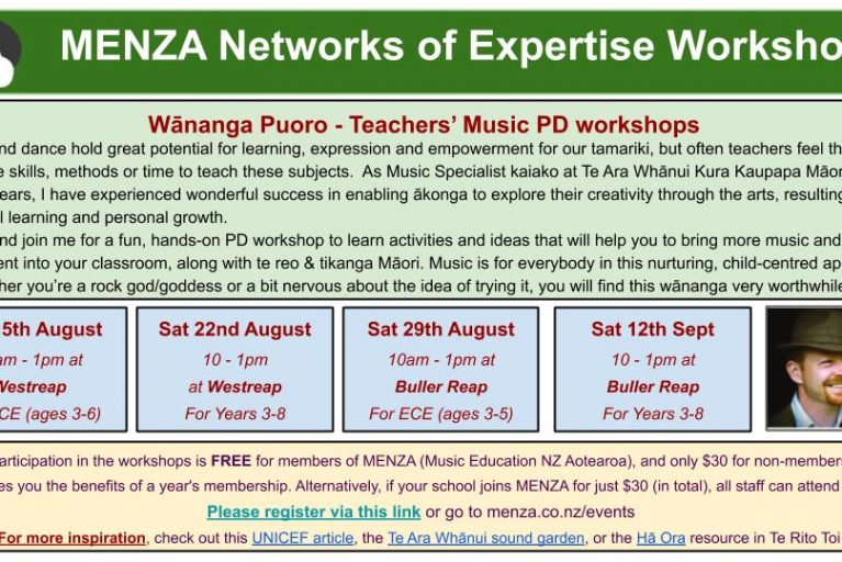 Wānanga Puoro – Teachers' Music PD workshops